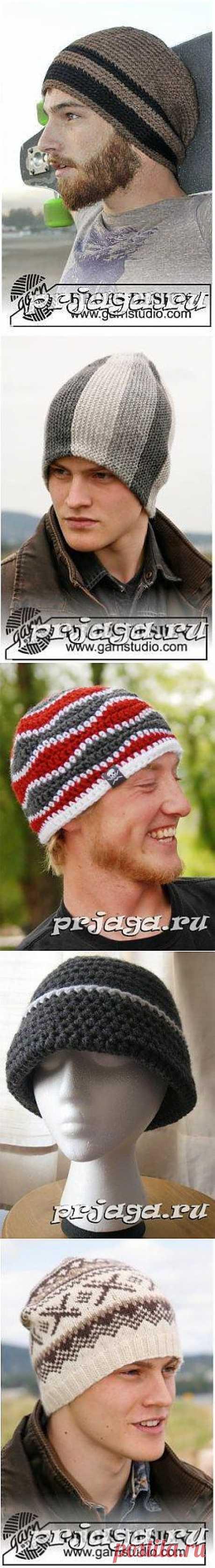 Мужские шапка и шарф спицами или крючком