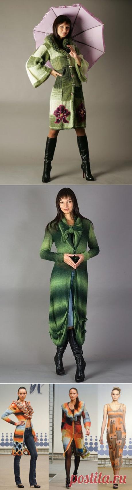 Вязаные пальто и платья от Анны Лесниковой.
