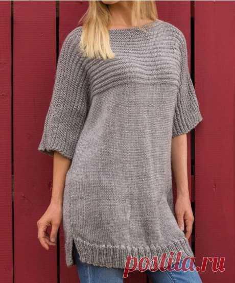 Удлиненный женский свитер спицами: техника вязания, схема узора, фото