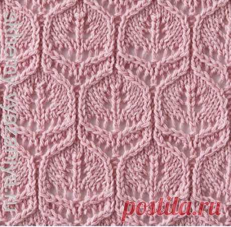Сотовый ажур с листьями - схема вязания узора спицами