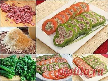 Как приготовить рецепт - закуска из перцев и томатов. - рецепт, ингредиенты и фотографии