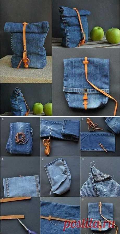 Как сшить рюкзак из старых джинсов.
