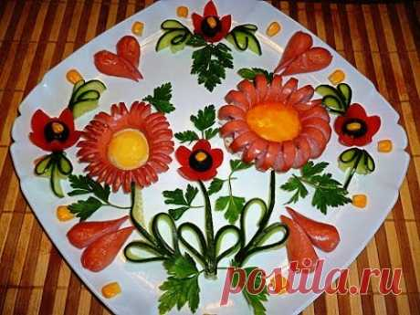 7 Layfkhakov Kak it is beautiful to cut sausage and sausages! Decoration of a plate Kak it is beautiful to issue a table