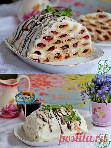 Блинный торт с вишней – кулинарный рецепт