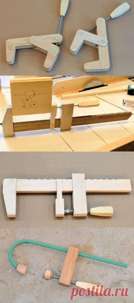 Несколько вариантов самодельных струбцин из дерева и металла