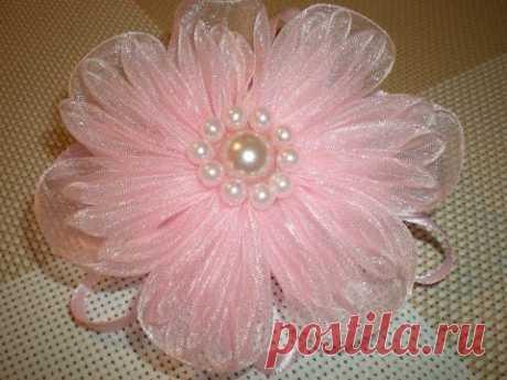 La flor-goma del pelo tierna de organzy por rukami.\/DIY Flowers - YouTube