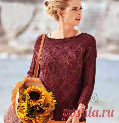 Ажурный летний пуловер со схемой и описанием