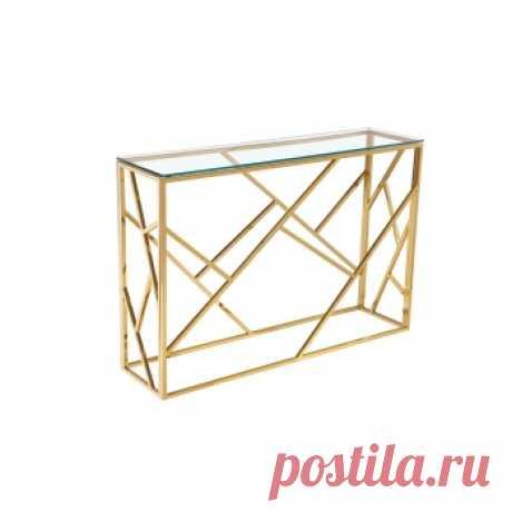 Консоль со стеклянной столешницей Голд. Красивые дизайнерские столы купить в Москве - необычные столы дизайнерские, цены в каталоге интернет-магазина ForestGum