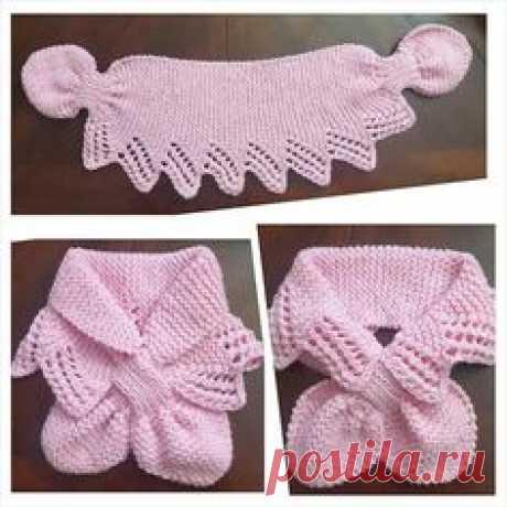 Розовый шарфик связанный спицами
