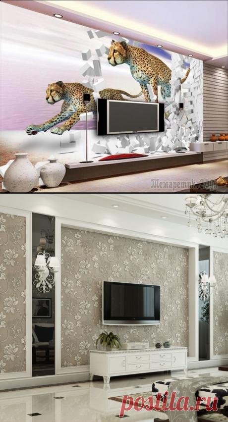 20 великолепных примеров, как с помощью обоев можно оживить зону для просмотра телевизора