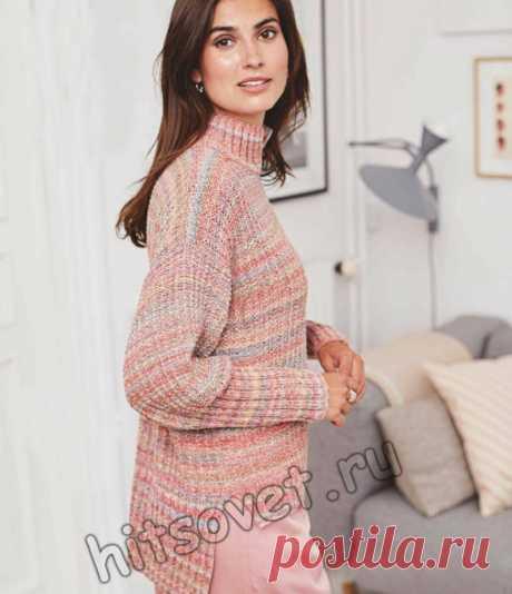 Модный вязаный свитер из секционной пряжи - Хитсовет