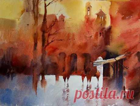 Размыты краски осеннего пейзажа. Художник Виктория Пришедько