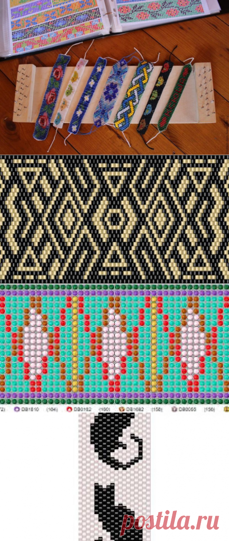 Технология плетения браслетов из бисера на станке [25 схем]