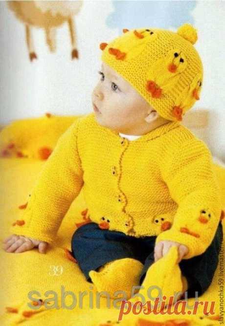 """Купить Комплект для малышей """"Цыпленок"""" - Вязаный комплект, комплект для малыша, вязаные шапочки, вязаные пинетки"""