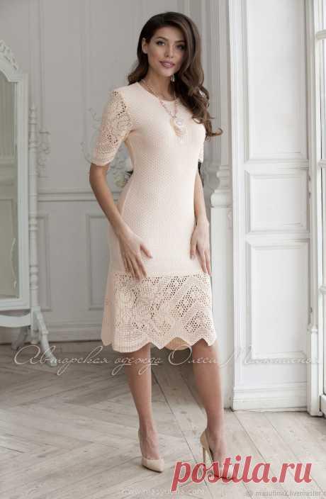 """Платье """"Тропический персик"""" Очаровательное платье из шелковистой ниточки, вискоза+ хлопок нежно- персикового цвета с филейным кружевом ручной работы! Прекрасный весенне- летний вариант!&nbsp"""