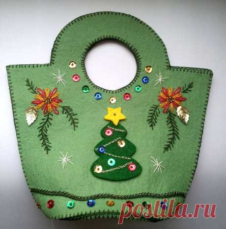 Сумочка для новогоднего подарка | ВЕРА БУРОВА, канал про вышивку | Яндекс Дзен