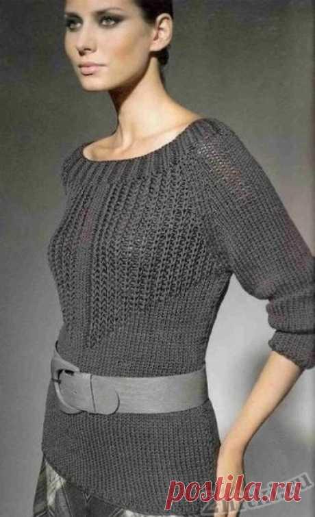 Пуловер с узором из патентных петель. Спицами. / Две нитки