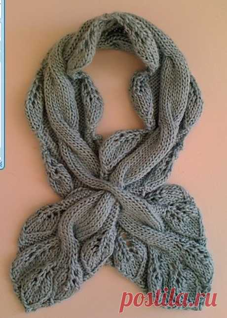 Шарф спицами узором листья. Как вязать шарф спицами рельефным узором. | Домоводство для всей семьи.