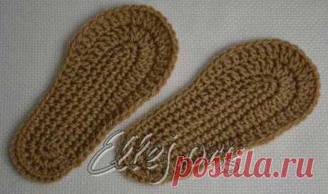 How to connect a sole for slippers by a hook • Knitting by a hook from Elena Kozhukhar