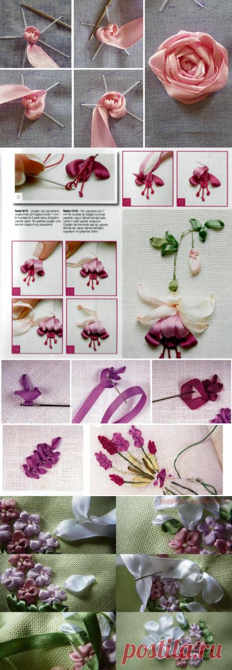 Как сделать объемную вышивку лентами — Сделай сам, идеи для творчества - DIY Ideas