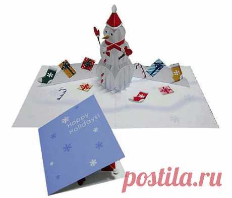 Снеговик из бумаги или с открытки. - Новогодние игрушки своими  руками <!--if(Новогодние игрушки своими руками.)-->- Новогодние игрушки своими руками.<!--endif--> - Инструкции по изготовлению подарков - Подарки своими руками .