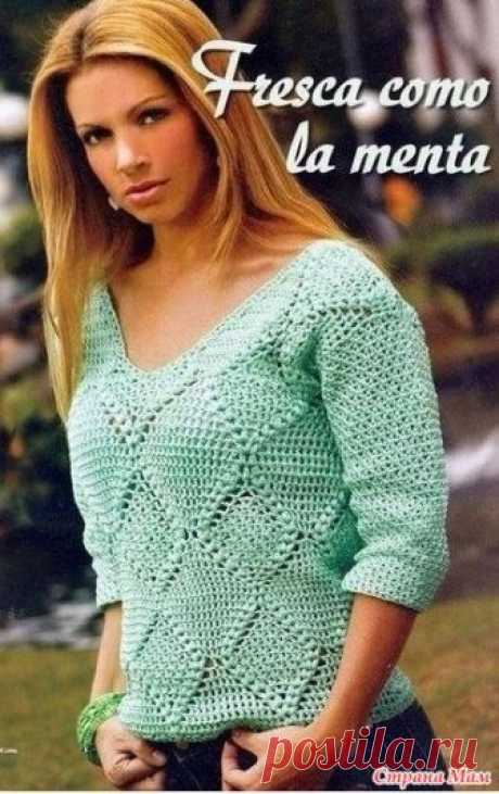 . Мятный пуловер с узором ромбы. Этот симпатичный пуловер цвета мяты связан красивыми ромбами которые обрамленны выпуклыми столбиками. Размер М. Пряжа вискоза.Крючок 2 мм. https://www.liveinternet.ru/