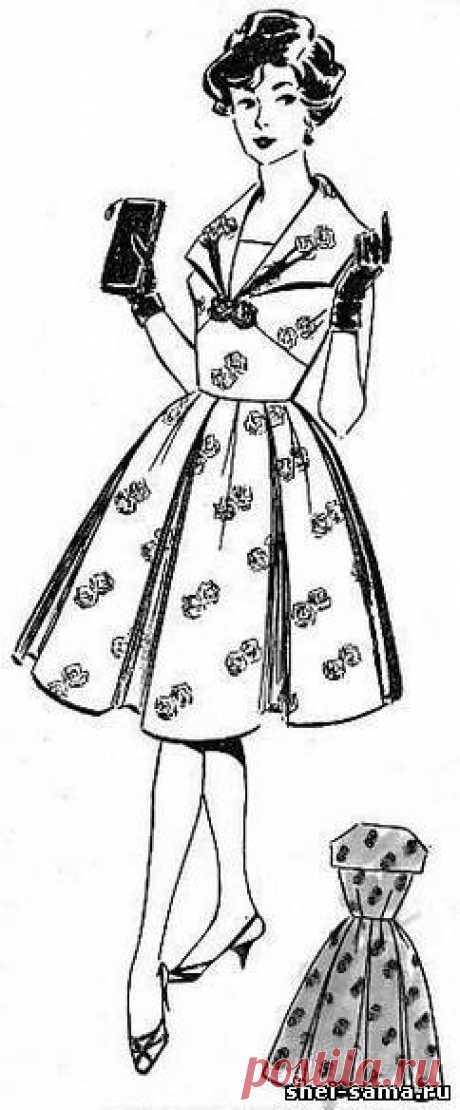 16) el Vestido la balnoe\/construcción del dibujo del patrón básico del vestido con tselnokroenymi por las mangas y la sobaquera rómbica - el vestido Femenino e infantil - Todo sobre la costura