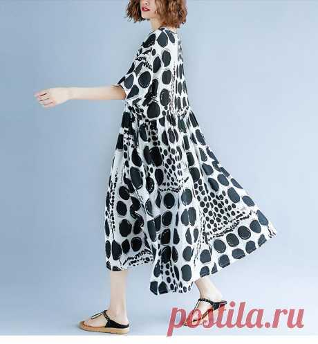Femme Large Vestidos Clothing Print Dot Black Elegant Lady Casual Loos - idetsnkf