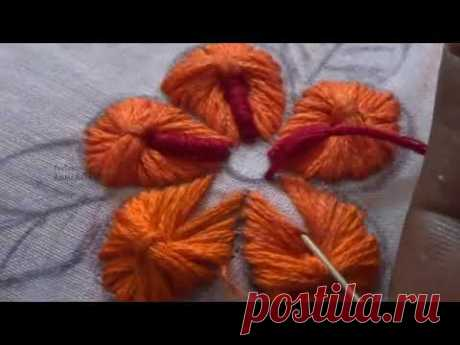 Hand Embroidery Stitches Flower Design  by Amma Arts