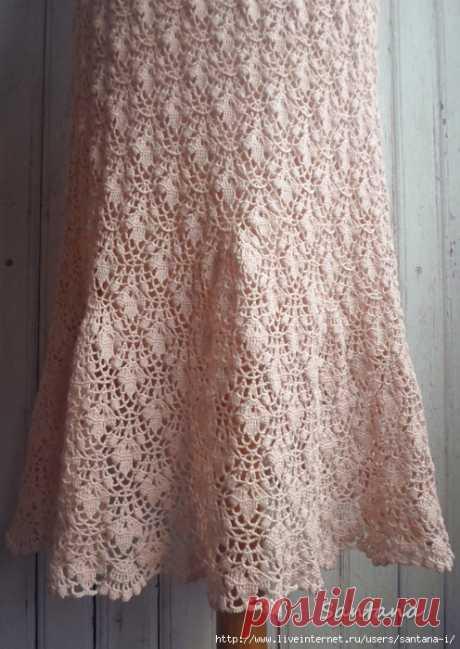 """Комплект """"Песочные цветы"""" (платье в пол, шляпа и колье) - Вязание - Страна Мам"""