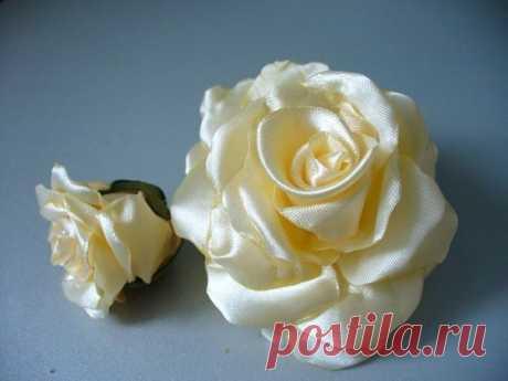 Роза из атласных лент.Мастер-класс.