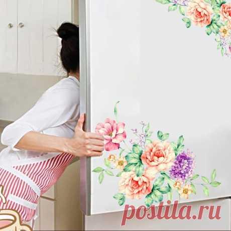 * Пион Цветы Стены Стикеры Искусство Home Decor ПВХ съемный стикер стены наклейки для детей, живущих комната Туалет холодильник украшения купить на AliExpress