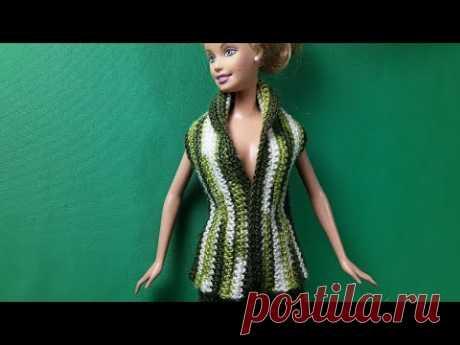 Супер жилет вязаный крючком по супер выкройка.Crochet Barbie