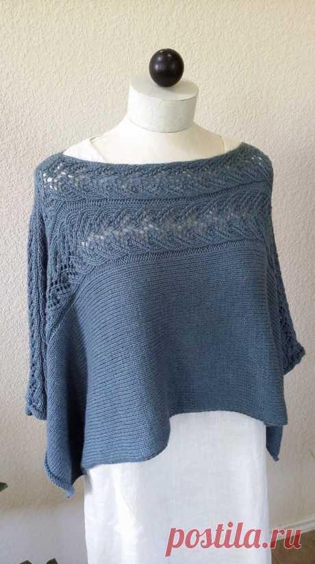 Интересная накидка, которую можно носить в двух вариантах (Вязание спицами)