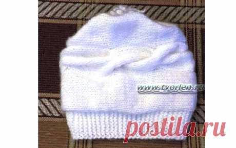 Шапочка спицами с описанием вязания - Творим - не ленимся! Оригинальная вязаная шапочка спицами с описанием вязания. Модель взята из интернета и воплощена в жизнь своими ручками. Попробуйте и Вы связать шапку!