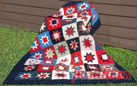"""Шьем одеяло в стиле пэчворк """"Звезды"""" Если у вас есть ткань и немного свободного времени, сшейте лоскутное одеяло! Оно согреет вас и ваших близких и принесет больше уюта в ваш дом. Соединение фигур с косыми краями бывает трудным для начинающих квилтеров. В этом мастер-классе мы покажет вам, как легко создать лоскутную звезду, а также поделимся несколькими хитростями быстрой сборки пэчворк-блоков. Эти звездные блоки легко вырезать и шить, из них получаются красивые лоскутные одеяла."""