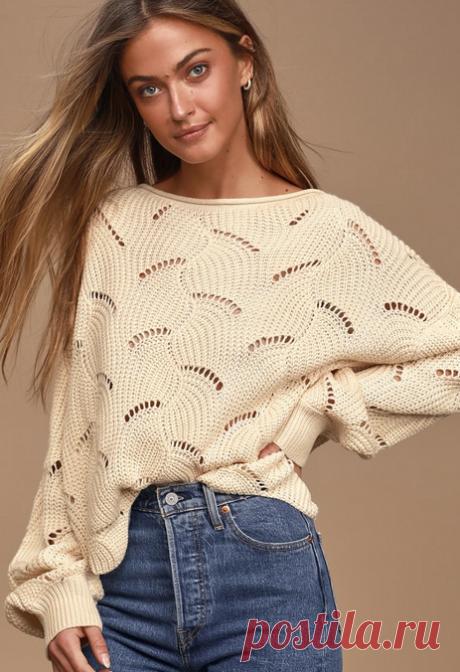 Пуловер пончо спицами с роскошным узором