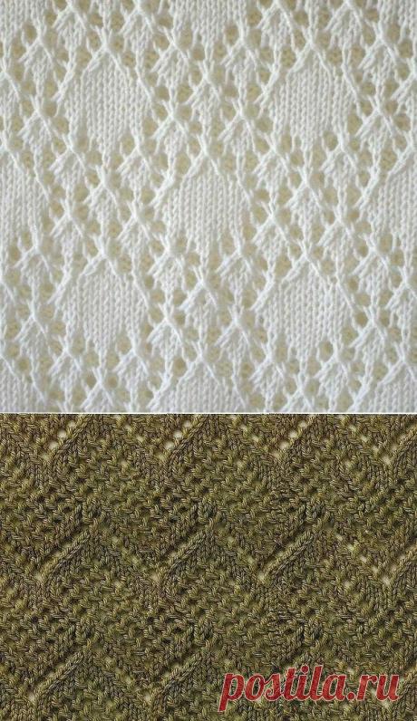 Ажурные узоры вязанные спицами (Схемы)