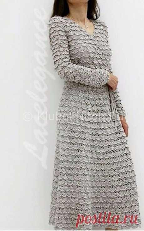 Кружевное серое платье   Вязание для женщин   Вязание спицами и крючком. Схемы вязания.