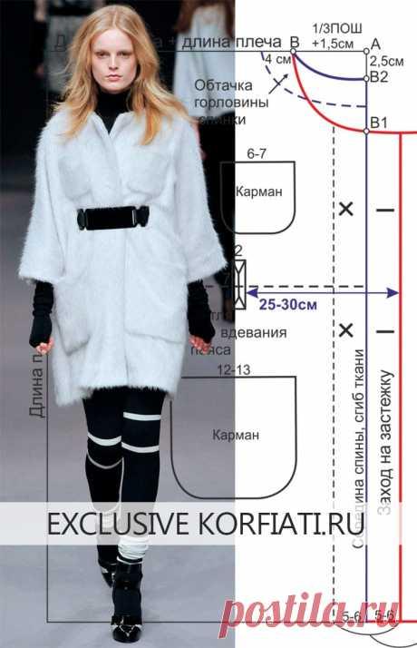 Выкройка пальто-накидки от Анастасии Корфиати Это меховое пальто-накидка настоящая находка для начинающих портних. И шить и кроить такое пальто - проще простого. Выкройка пальто-накидки, построить
