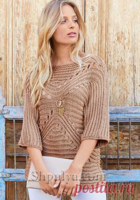 Бежевый пуловер с фигурным узором