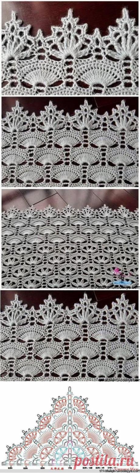 Схема очень красивого узора. Шикарный узор крючком со схемой | Шкатулка рукоделия