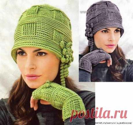 Теплая женская шапка связана крючком