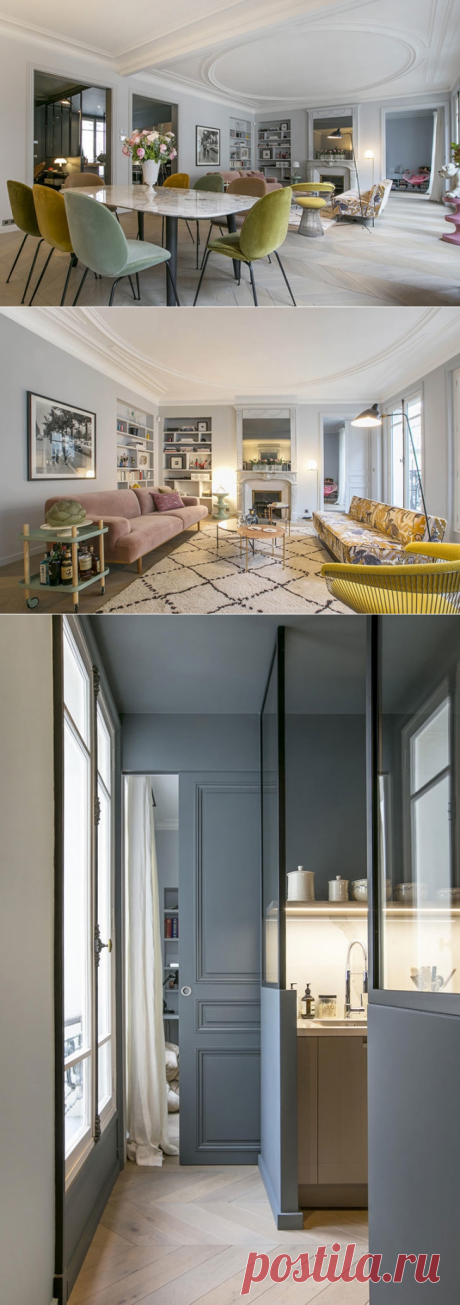 Квартира в Париже: современный интерьер, интересные детали и французский стиль (155 кв. м) - Дизайн интерьеров | Идеи вашего дома | Lodgers
