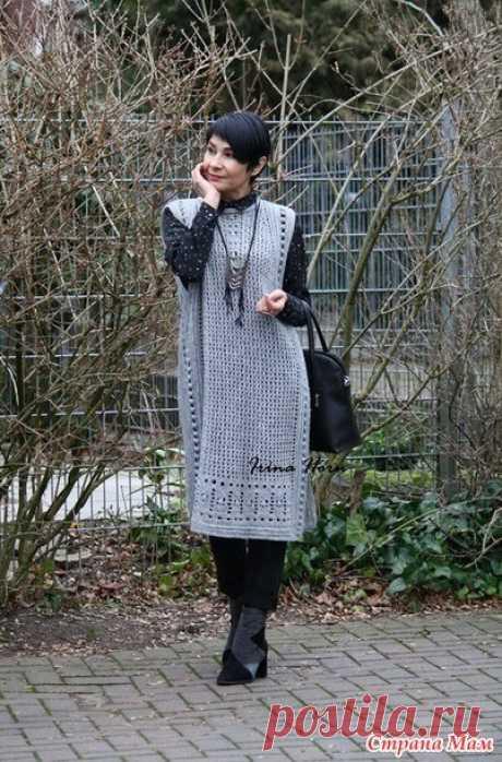 Длинный жилет-сарафан от Ирины Хорн (Вязание крючком) – Журнал Вдохновение Рукодельницы