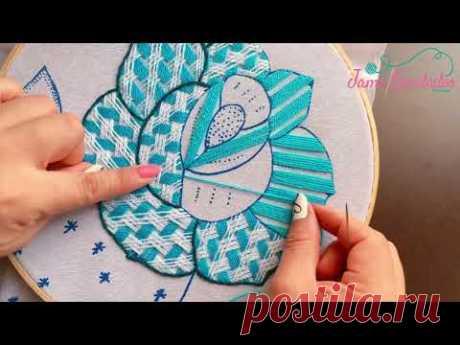 166. Bordado Fantasía Rosa 4 / Hand Embroidery Rose 🌹 with Fantasy Stitch