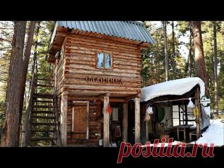 Hike in the woods to a 2-story log cabin - 2