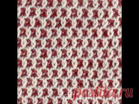Планета Вязания | Ленивые жаккарды - узор двухцветные соты, описание узора, видео урок по вязанию узора соты.