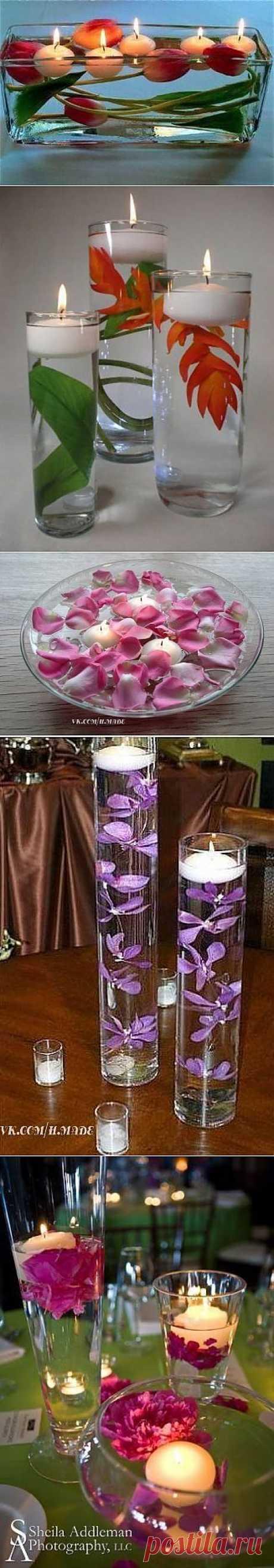 Плавающие цветы и свечи: несколько вдохновляющих идей для романтиков