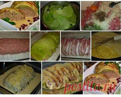 Мясной рулет «Голубец» в сливочном соусе.. Вкусное и сытное блюдо. Готовят его из доступных продуктов, легко и удобно, получается много вкусного сырного соуса. На гарнир можно подать картофель, рис или гречку.  Ингредиенты:  * 750г.фарша * 1 яйцо, * 1 белая булка, * 1 луковица,  * соль перец, * мускат, * 1 ст.ложка неострой горчицы,зелень. * 8-10 листьев капусты,